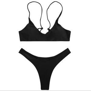 Black Strappy Cheeky Bikini Set M